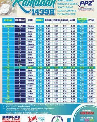Jadual Waktu Berbuka Puasa dan Imsak Kuala Lumpur 2018-1439